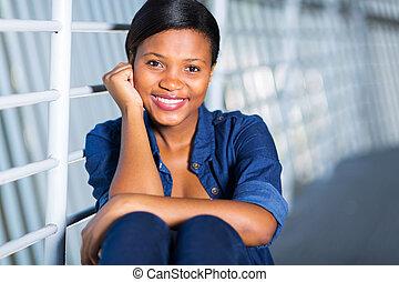 mulher americana, jovem, africano