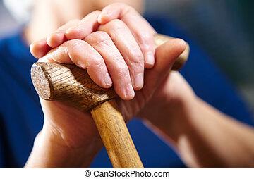 mulher, antigas, cana, mãos
