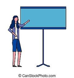 mulher, apresentação, tábua, negócio