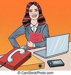 mulher, arte, escritório, negócio, sucedido, trabalho, laptop., ilustração, vetorial, estouro