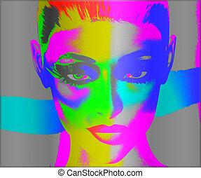 mulher, arte, estouro, rosto