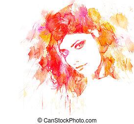 mulher, beleza, portrait.