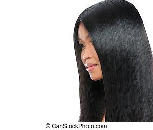 mulher, beleza, saudável, direito, isolado, cabelo longo, morena, asiático, retrato, branca