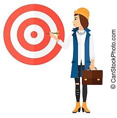 mulher, board., alvo, negócio