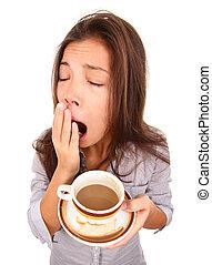 mulher, bocejar, cansadas