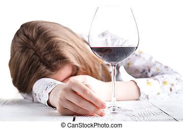 mulher bonita, álcool, jovem, bebendo, depressão