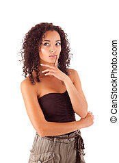 mulher bonita, africano, pensando
