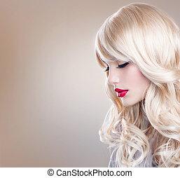 mulher bonita, cabelo longo, ondulado, portrait., loura, loiro, menina