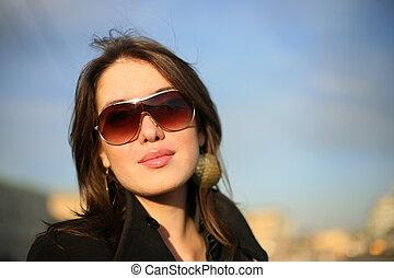 mulher bonita, city., dof., raso, jovem, retrato