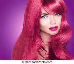 mulher bonita, coloração, haired, longo, luminoso, moda, portrait., makeup., hair., vermelho, lustroso