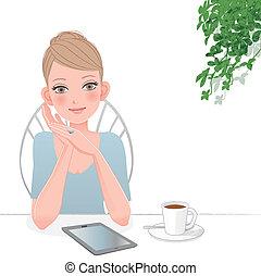 mulher bonita, computador, tabuleta, café