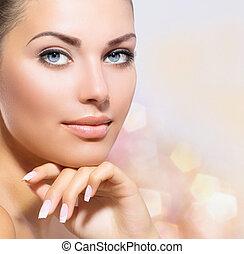 mulher bonita, dela, beleza, rosto, tocar, portrait., spa