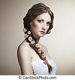 mulher bonita, dela, cabelo, retrato, flores