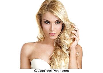 mulher bonita, dela, mostrando, jovem, cabelo, loiro