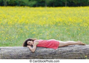 mulher bonita, dormir, registro, jovem