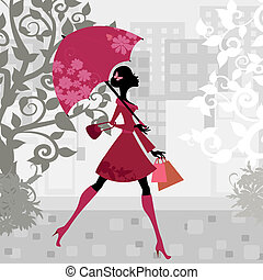 mulher bonita, guarda-chuva