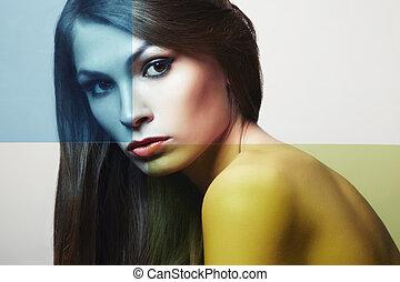 mulher bonita, jovem, moda, conceitual, retrato