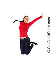 mulher bonita, jovem, pular, feliz