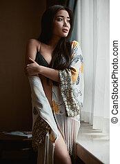 mulher bonita, langerie, asiático, retrato, sensual