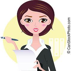 mulher bonita, negócio, isolado, amarela, caneta, fundo