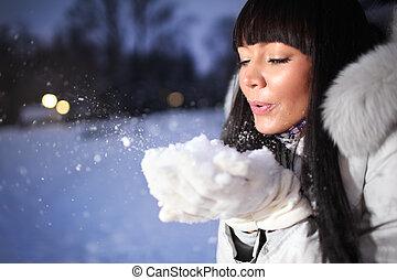 mulher bonita, parque, inverno
