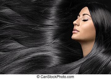 mulher bonita, saudável, jovem, cabelo longo, brilhante
