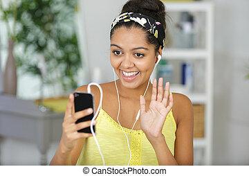 mulher, câmera, waving