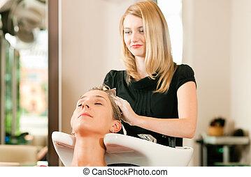 mulher, cabeleireiras