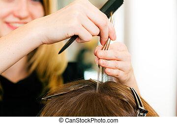 mulher, cabeleireiras, cor, cabelo, novo, adquire, ?