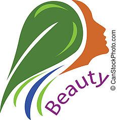 mulher, cabelo, face-healthy, logotipo, vetorial
