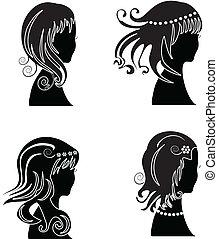 mulher, cabelo fixo, beleza