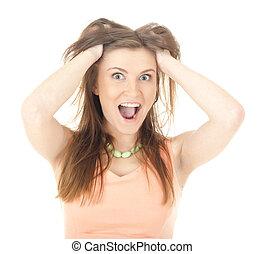 mulher, cabelo puxa, ir, cansado, frustration., dela, loucos, stress.