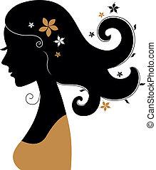 mulher, cabelo, retro floresce, silueta