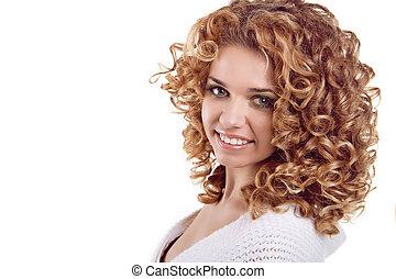 mulher, cacheados, beleza, cabelo, experiência., portrait., atraente, retrato, sorrindo, branca