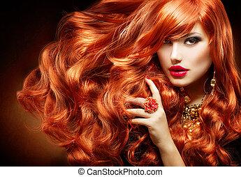 mulher, cacheados, longo, moda, hair., retrato, vermelho
