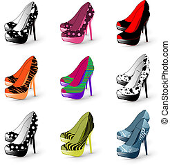 mulher, calcanhar, sapatos, alto