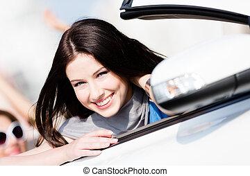 mulher, car, cima fim, branca, vista