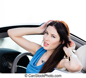 mulher carro, vista, cima fim