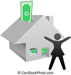 mulher, casa, símbolo, trabalho, poupança, renda, lar, celebra, ou