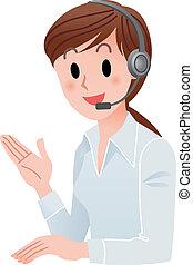 mulher, cliente, sorrindo, serviço