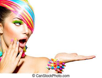 mulher, coloridos, cabelo, beleza, maquilagem, pregos, acessórios