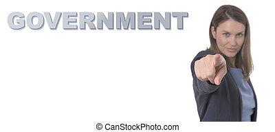 mulher, conceito, governo, apontar, negócio, concept., texto