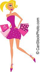mulher, cor-de-rosa, romance, shopping