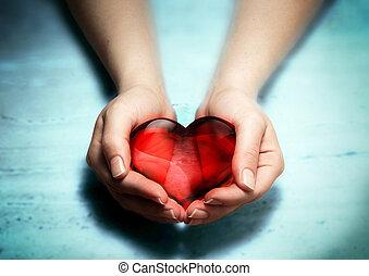 mulher, coração, mãos, vermelho, vidro