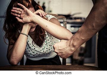 mulher, dela, cobertura, violência, doméstico, rosto, medo