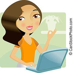 mulher, dela, laptop, trabalhando