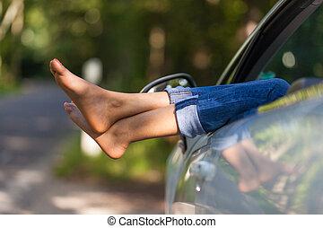 mulher, dela, pessoas, car, levando, -, jovem, descanso, pretas, africano, conversível, motorista