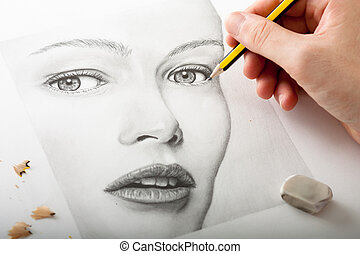 mulher, desenho, mão, rosto