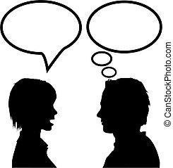 mulher, &, dizer, fala, homem, pensar, conversa, escutar