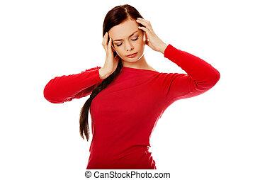 mulher, dor de cabeça, jovem, bonito